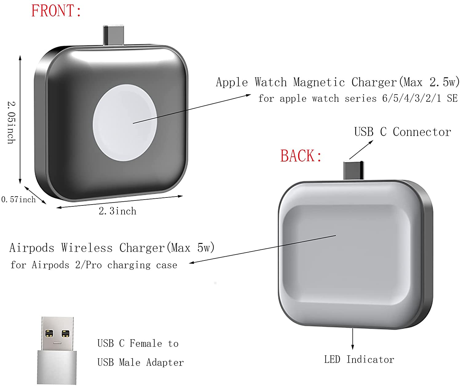 QINISH Portable Dual-Side Magnetic Charging Dock Station